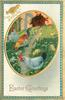 EASTER GREETINGS  oval inset of two white/grey hens & multicoloured rooster facing left, prominent centre path, with three chicks,blue/gilt border
