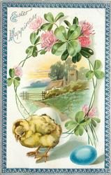 EASTER HAPPINESS  chick stands below clover bordered inset of church & fence, blue egg below, blue/silver border