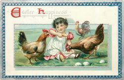 EASTER HAPPINESS  girl sits between two chickens, her right hand holds food, three white eggs front right, cock in distance, blue/silver border