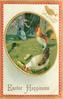 EASTER HAPPINESS  oval inset of  white/ brown hen and rooster on grass, silver hen behind, two chicks, red/gilt border