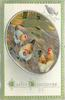 EASTER HAPPINESS  oval inset of two white/ brown hens and rooster on a slope, green/silver border