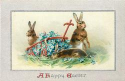 A HAPPY EASTER  three rabbits around red cart full of blue forget-me nots