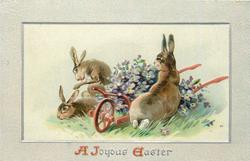 A JOYOUS EASTER  three rabbits around red cart full of purple flowers