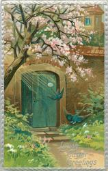 LOVING EASTER GREETINGS  two blue swallows in flight in front of doorway, under blossom tree