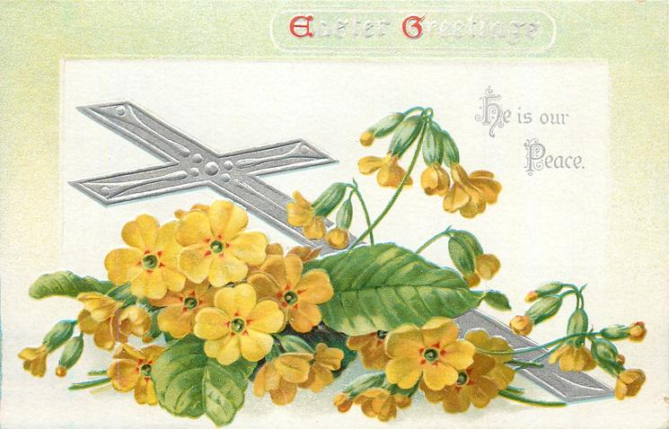 EASTER GREETINGS  with yellow primroses