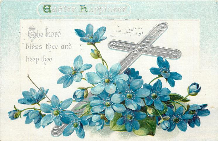 EASTER HAPPINESS  with blue flowers