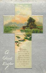 A GLAD EASTER  cross inset of rural scene