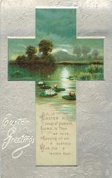 EASTER GREETINGS  cross inset of rural scene with water lilies
