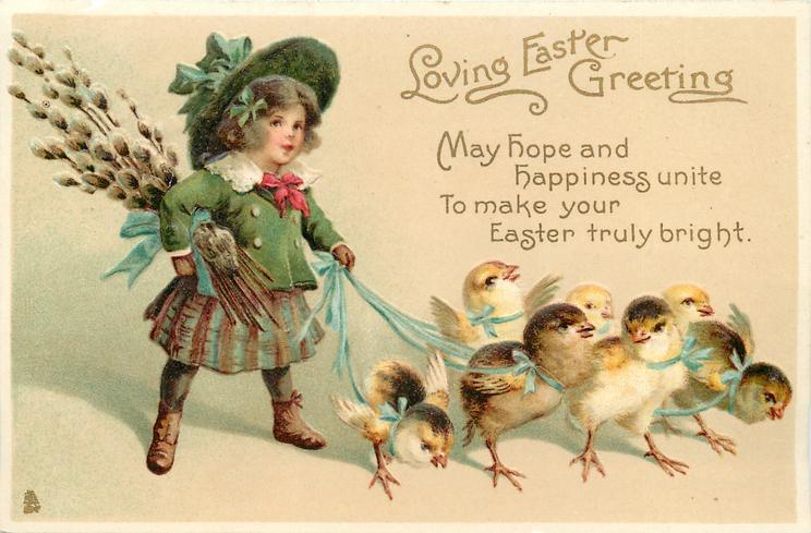 LOVING EASTER GREETING  with verse MAY HOPE AND HAPPINESS...TRULY BRIGHT.