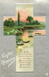 EASTER HAPPINESS  cross inset of rural scene