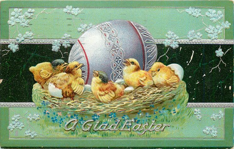 A GLAD EASTER  five chicks sitting in nest basket in front of big purple egg