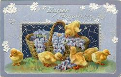 EASTER HAPPINESS  one duckling on basket of purple flowers, five more on ground