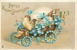 LOVING EASTER GREETINGS  bird on carriage covered with forget-me-nots