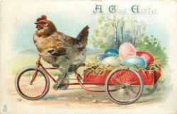 A GLAD EASTER  chicken riding a bike carrying cart full of eggs