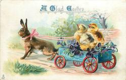 A GLAD EASTER  rabbIt pulls two chicks in cart