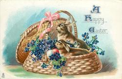 A HAPPY EASTER  two rabbits in basket, violets