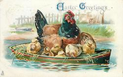 EASTER GREETINGS  hen and six chicks in boat
