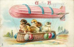 EASTER HAPPINESS  four chicks in basket hanging below air-ship