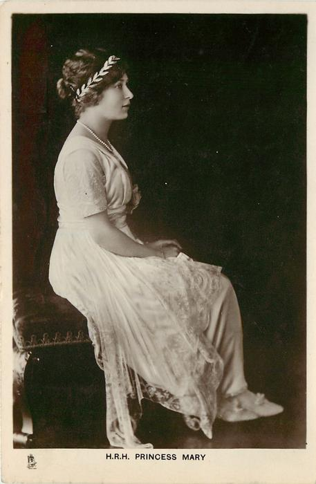 H.R.H. PRINCESS MARY  seated with hands in lap