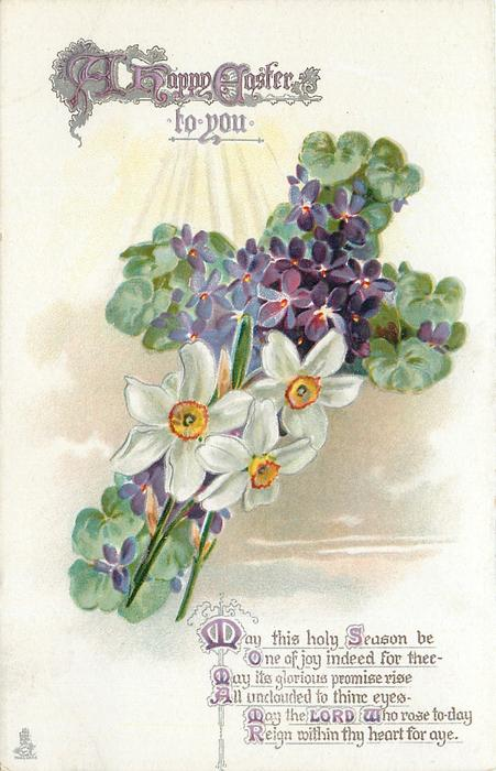 A  HAPPY EASTER TO YOU  violets & narcissi
