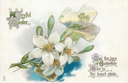 A JOYFUL EASTER  lilies & rural inset in cross