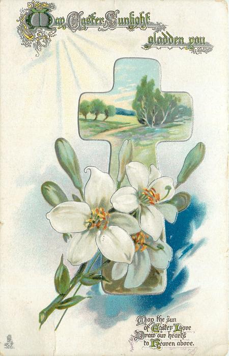 MAY EASTER SUNLIGHT GLADDEN YOU  narcissi, inset in cross