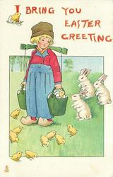 I BRING YOU EASTER GREETING  Dutch boy holds two pails of eggs slung from a yoke