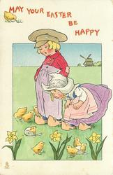 MAY YOUR EASTER BE HAPPY  boy, girl, chicks