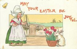 MAY YOUR EASTER BE JOYFUL  girl left, rabbit smells tulips right