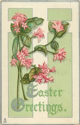 EASTER GREETINGS  stylized pink flowers, two stems left
