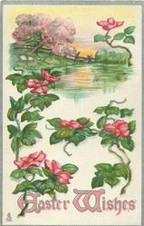 EASTER WISHES  stylized pink flowers below rural scene of pond & blossom tree