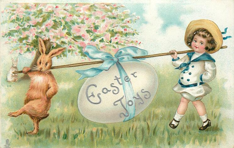 EASTER JOYS  rabbit and child carry an egg that is slung over a stick with a ribbon