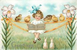 GREETINGS, EASTER CAROLS  on book girl is reading, rabbits below, chicks & girl sit on ribbons hung from lilies