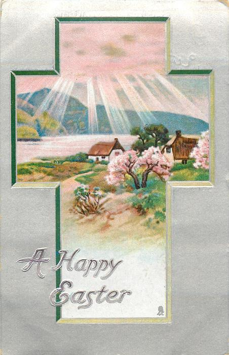 A HAPPY EASTER  rural inset pink blossoming trees and sun rays over water