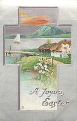 A JOYOUS EASTER  rural inset, cottages, lake & mountain