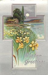 EASTER GREETINGS  rural inset, daffodils