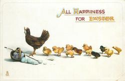 ALL HAPPINESS FOR EASTER  hen & eleven chicks