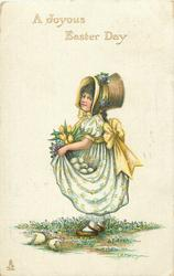 A JOYOUS EASTER DAY  girl with eggs in skirt