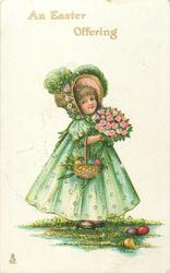 AN EASTER OFFERING  girl with bunch of roses & basket