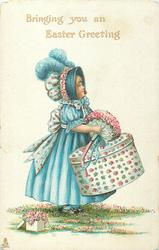 BRINGING YOU AN EASTER GREETING  girl with large hat box & posy of flowers