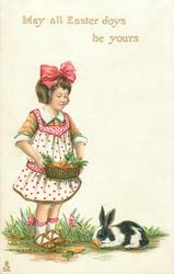MAY ALL EASTER JOYS BE YOURS  girl with basket of carrots for rabbit below