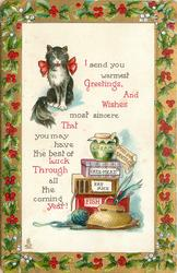 I SEND YOU WARMEST GREETINGS AND WISHES...YEAR  cat above left, food below right