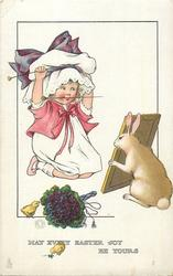 MAY EVERY EASTER JOY BE YOURS  girl sitting on floor looking in mirror held up by rabbit