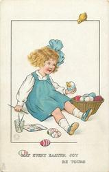 MAY EVERY EASTER JOY BE YOURS  girl sitting on floor painting eggs, one hatches