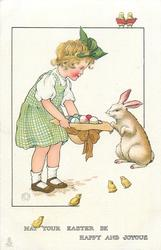 MAY YOUR EASTER BE HAPPY AND JOYOUS  girl stand showing hat full of eggs to rabbit