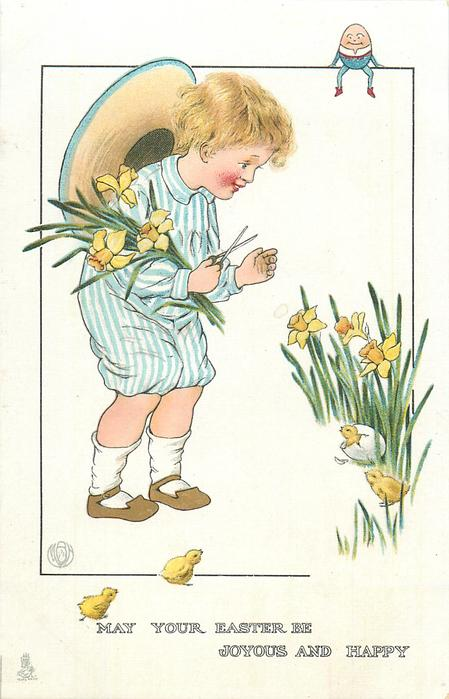 MAY YOUR EASTER BE JOYOUS AND HAPPY  boy picks daffodils, four chicks
