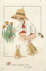 OH! HAPPY EASTER DAY IS HERE  girl looks at tulips, three eggs, three rabbits