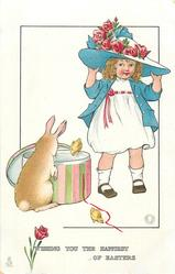 WISHING YOU THE HAPPIEST OF EASTER  girl tries on large hat, rabbit looks in hat-box, two chicks