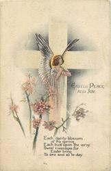 EASTER PEACE AND JOY  cross, angel & blossom