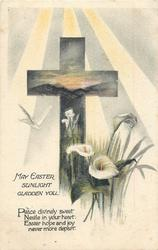 MAY EASTER SUNLIGHT GLADDEN YOU  cross, lilies & dove